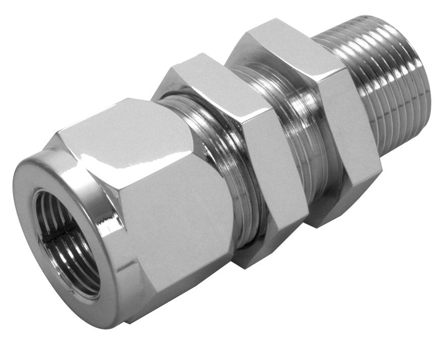 Bulkhead male npt tube connector lenz