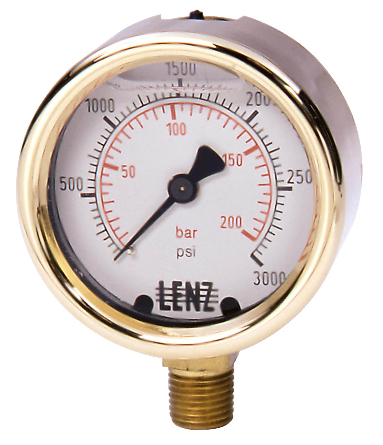 Hydraulic Pressure Meter : Liquid filled hydraulic pressure gauges lenz